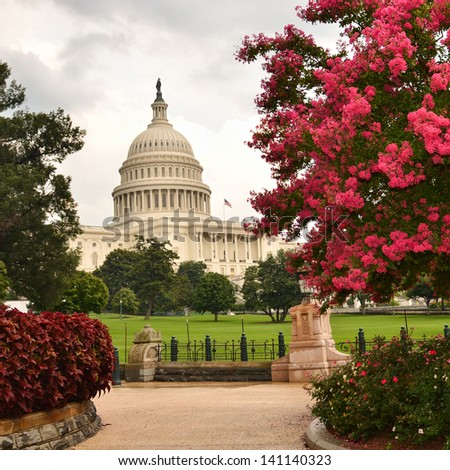 United States Capitol Building in a cloudy day - Washington DC - stock photo