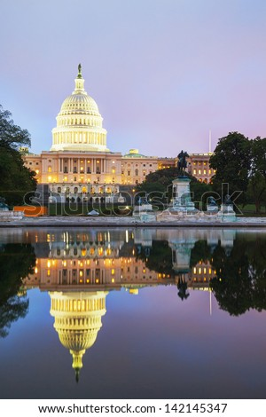 United States Capitol building in Washington, DC at sunset - stock photo