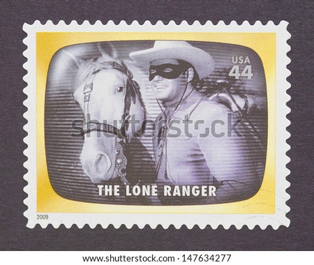 UNITED STATES - CIRCA 2012: a postage stamp printed in USA commemorative of the american television program The Lone Ranger, circa 2012.  - stock photo