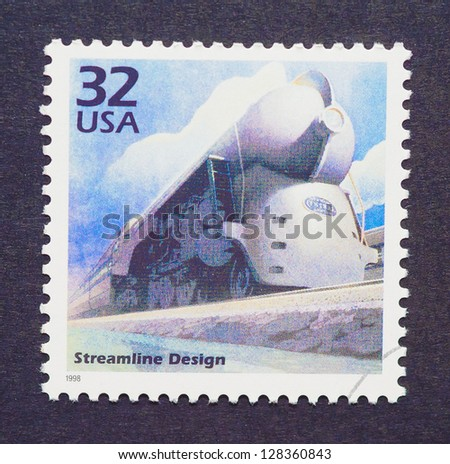 UNITED STATES � CIRCA 1998: a postage stamp printed in USA showing an image of a train with streamline design, circa 1998. - stock photo