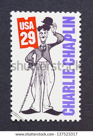 UNITED STATES - CIRCA 1994 a postage stamp printed in USA showing an image of Charles Chaplin, circa 1994. - stock photo