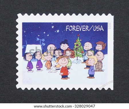 UNITED STATES - CIRCA 2015: a postage stamp printed in USA showing an image of Charlie Brown cartoon character, circa 2015.  - stock photo