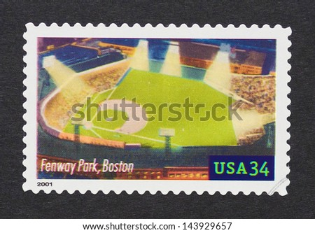 UNITED STATES - CIRCA 2000: a postage stamp printed in USA showing an image of Fenway Park in Boston circa 2000. - stock photo