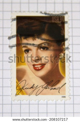 UNITED STATES - CIRCA 2006: a postage stamp printed in USA showing an image of Judy Garland, circa 2006.  - stock photo