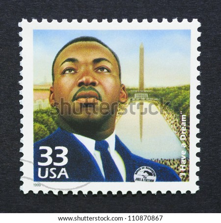 UNITED STATES -Â?Â? CIRCA 1999: a postage stamp printed in USA showing an image of Martin Luther King Jr., circa 1999. - stock photo