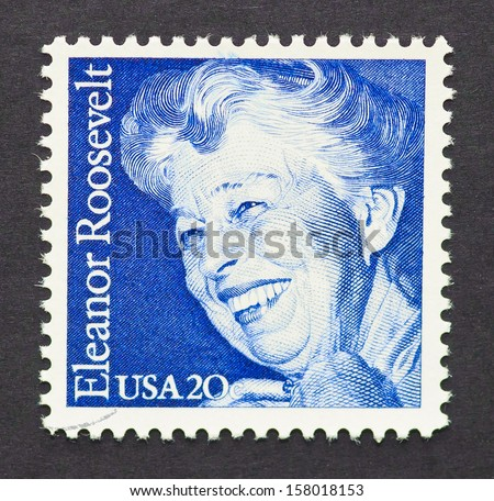 UNITED STATES - CIRCA 1984: a postage stamp printed in USA showing an image of the first Lady Eleanor Roosevelt, circa 1984.   - stock photo
