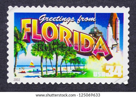 UNITED STATES - CIRCA 2002: a postage stamp printed in USA showing an image of the Florida state, circa 2002. - stock photo