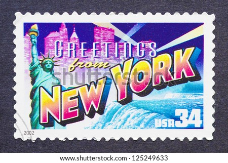 UNITED STATES - CIRCA 2002: a postage stamp printed in USA showing an image of the New York state, circa 2002. - stock photo