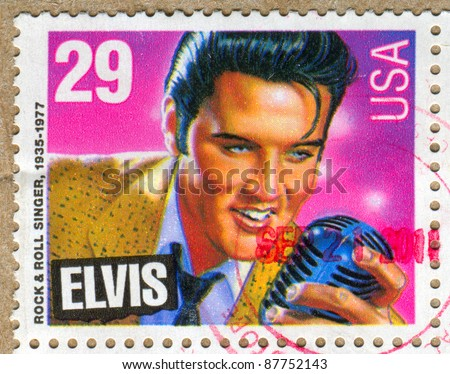 UNITED STATES - CIRCA 1992: A stamp printed by United states, shows Elvis Presley, circa 1992 - stock photo
