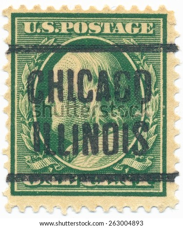 """UNITED STATES - CIRCA 1908: A stamp printed in the United States, shows portrait of the Benjamin Franklin (1706-1790) and overprint """"Chicago Illinois"""", circa 1908 - stock photo"""