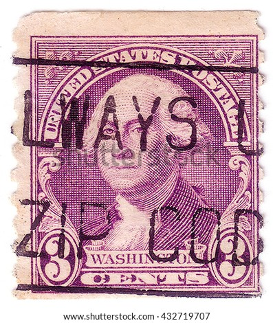 UNITED STATES - CIRCA 1932: A stamp printed in the United States, shows portrait of Washington (1732-1799), circa 1932 - stock photo