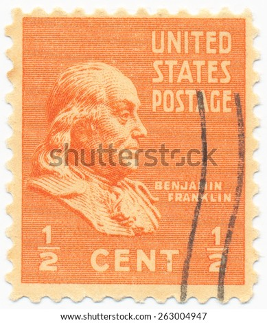 UNITED STATES - CIRCA 1938: A stamp printed in the United States, shows the Benjamin Franklin (1706-1790), circa 1938 - stock photo