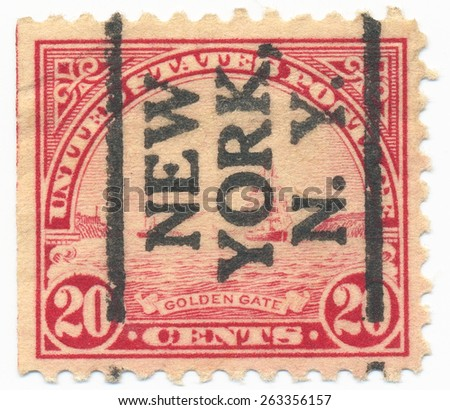 """UNITED STATES - CIRCA 1923: A stamp printed in the United States, shows the Golden Gate paintings by W.A.Coulter and overprint """"New York N.Y."""" , circa 1923 - stock photo"""