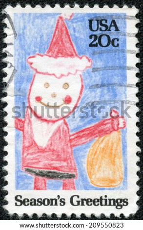 UNITED STATES - CIRCA 1980: A stamp printed in United States shows child drawing of Santa Claus, circa 1980 - stock photo