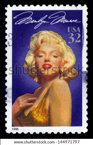 UNITED STATES - CIRCA 1995: A stamp printed in USA shows actress Marilyn Monroe (1926-1962), series Legends of Hollywood, circa 1995 - stock photo