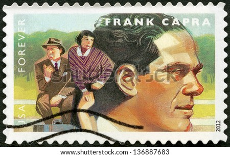 UNITED STATES - CIRCA 2012: A stamp printed in USA shows portrait of Frank Capra (1897-1991), scene from It Happened One Night, circa 2012  - stock photo