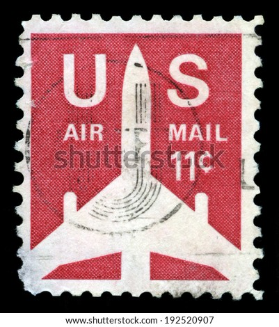 UNITED STATES - CIRCA 1971: A United States Airmail Postage Stamp, circa 1971. - stock photo