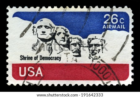 UNITED STATES - CIRCA 1974: A United States Airmail Stamp depicting an image of Mount Rushmore, circa 1974. - stock photo