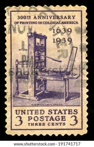 UNITED STATES - CIRCA 1939: A United States Postage Stamp celebrating the 300th Anniversary of Printing in Colonial America, circa 1939. - stock photo