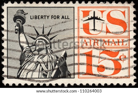 UNITED STATES - CIRCA 1959: depicting the statue of liberty,15 cent,circa 1959 - stock photo