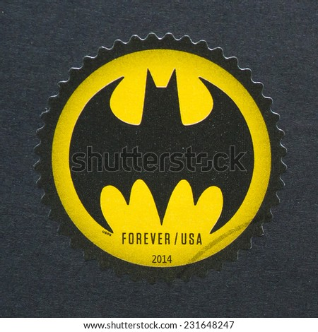 UNITED STATES - CIRCA 2014: postage stamp printed in USA showing an image of Batman logo celebrating the 75th anniversary of this cartoon, circa 2014.  - stock photo