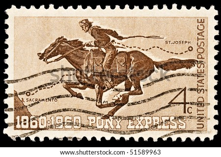 UNITED STATES - CIRCA 1960's : A stamp printed in United States. Honoring 100 yrs of the Pony Express the first American mail delivery system. United States - CIRCA 1960's - stock photo