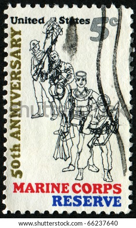 UNITED STATES - CIRCA 1966: Stamp printed by United states honoring 50th anniversary of Marine Corps Reserve, circa 1966 - stock photo