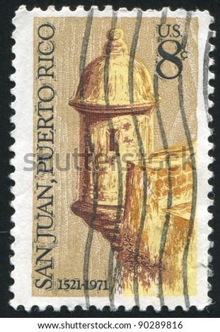 UNITED STATES - CIRCA 1971: stamp printed by United States of America, shows Sentry Box, Morro Castle, San Juan, circa 1971 - stock photo