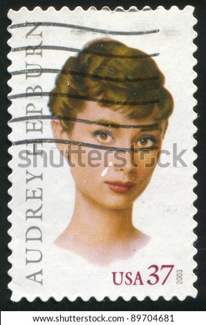 UNITED STATES - CIRCA 2003: stamp printed by United states, shows Audrey Hepburn, circa 2003 - stock photo