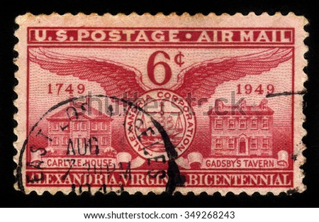 UNITED STATES - CIRCA 1949: stamp printed by United states, shows Home of John Carlyle, Alexandria Seal and Gadsby's Tavern, circa 1949 - stock photo