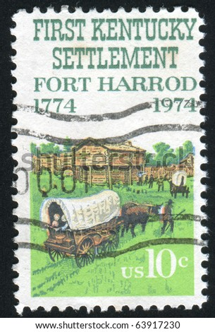 UNITED STATES - CIRCA 1974: stamp printed in United states, shows Fort Harrod, circa 1974 - stock photo