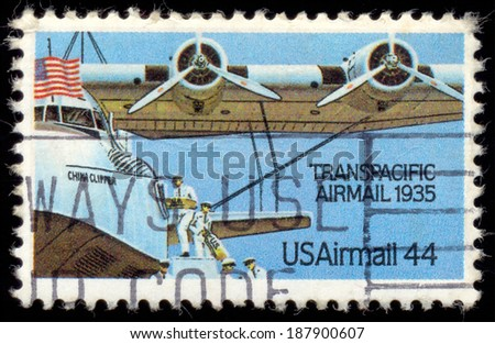 """UNITED STATES - CIRCA 1985: stamp printed in United states (USA), shows airline, with inscription and name of series """"Transpacific Airmail 1935"""" circa 1985 - stock photo"""
