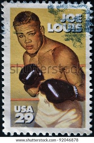 UNITED STATES - CIRCA 1993 : stamp printed in USA shows Joe Louis, circa 1993 - stock photo