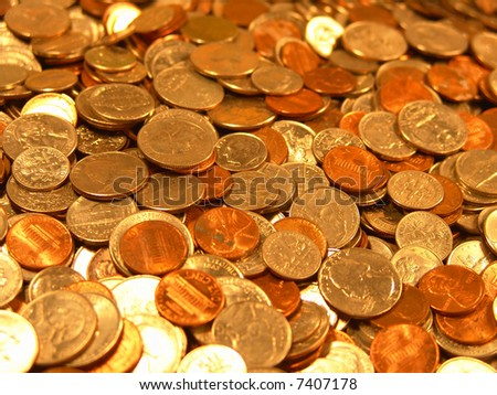 United States Coins Dimes Pennies Quarters money background - stock photo