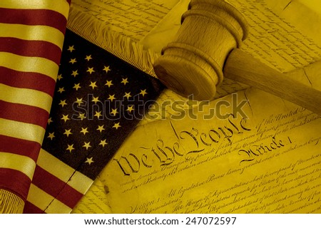 United States Constitution, gavel and American flag, SEPIA TONE - stock photo