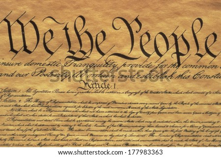 "United States Constitution with its preamble ""We the People"" - Government of the United States of America. - stock photo"