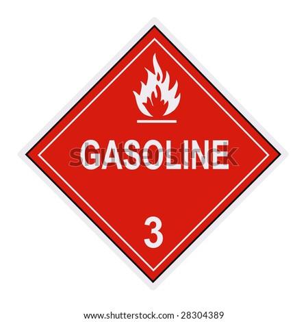 United States Department of Transportation gasoline warning label isolated on white - stock photo