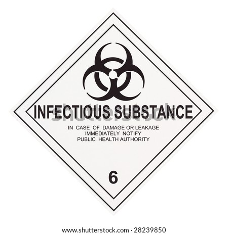 United States Department of Transportation infectious substance warning label isolated on white - stock photo