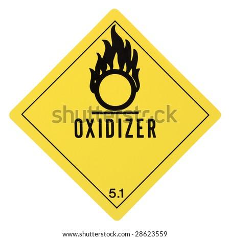 United States Department of Transportation oxidizer warning label isolated on white - stock photo
