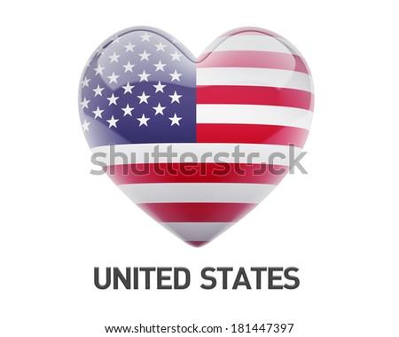 United States Flag Heart Icon isolated on white background - stock photo