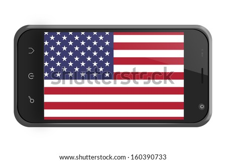 United States flag on smartphone screen isolated on white - stock photo