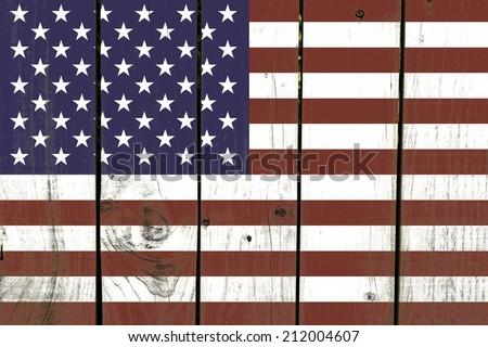 United States flag on wooden background - stock photo