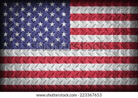 United States flag pattern on the diamond metal plate texture ,vintage style - stock photo