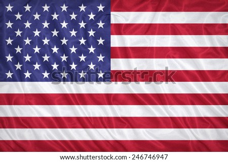 United States flag pattern on the fabric texture ,vintage style - stock photo