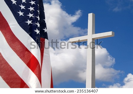 United States flag with Cross indicating God and Country - stock photo