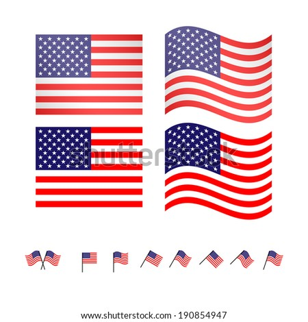 United States Flags - stock photo