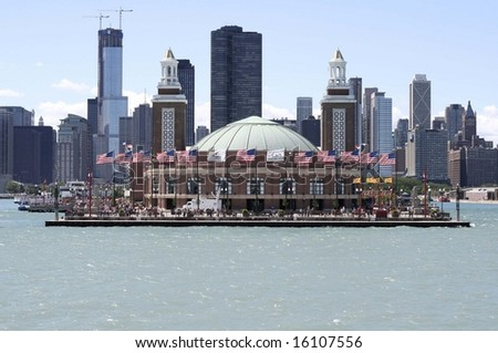 United States flags at Navy Pier,Chicago,IL - stock photo