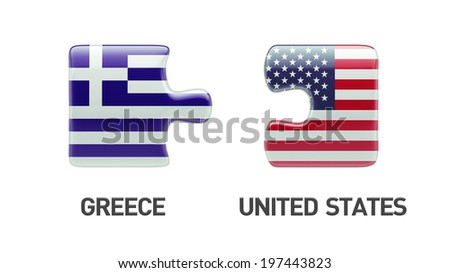 United States Greece High Resolution Puzzle Concept - stock photo