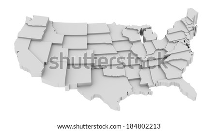United States map by states in various high levels. Abstraction of parts of a whole. This icon serves as idea of raised platforms to show data information related to every state. - stock photo