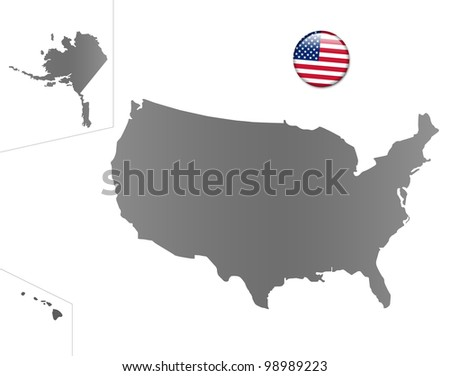 United States map with a magnet in national colors - stock photo